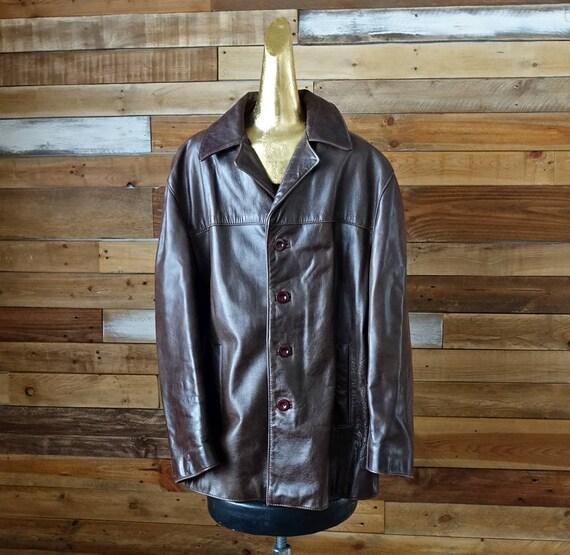 Vintage braun Lederjacke Schaffell groß