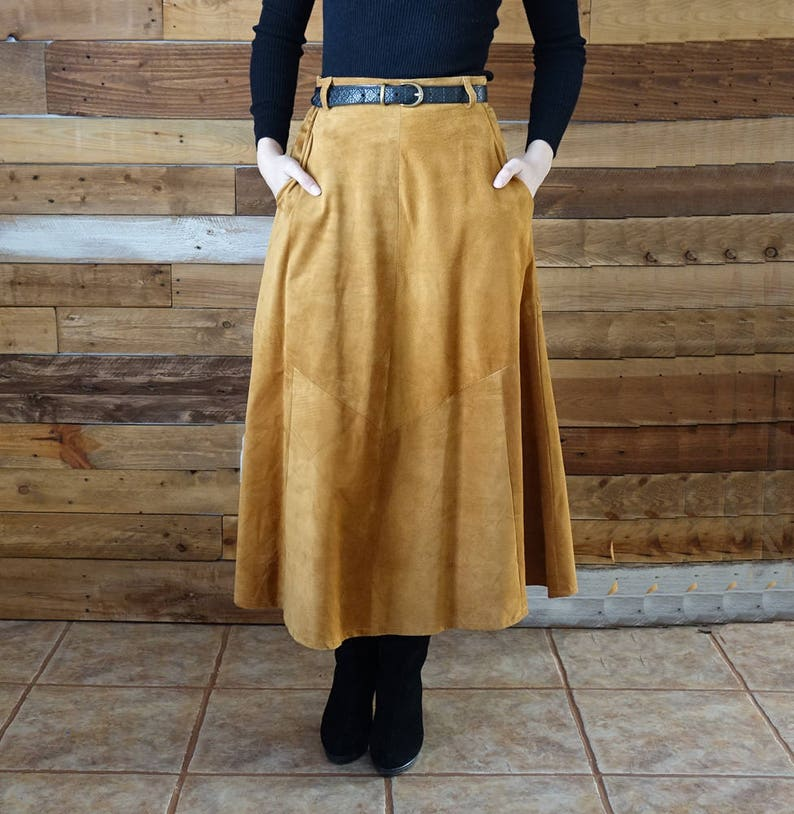 Vintage long suede skirt  Size 7/8  High waist image 0