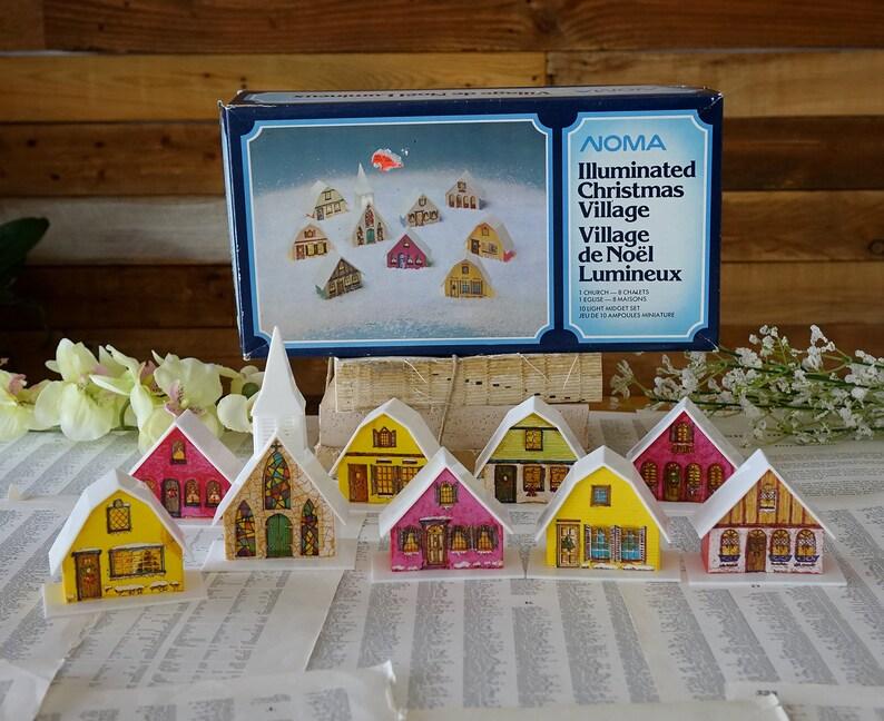 Vintage Christmas Noma Village 9 Houses And Church Light Covers Christmas Decoration Holiday Decor B