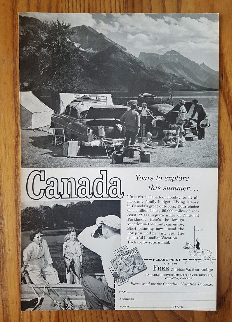 Vintage Black and White CANADA Advertisement 1958 Retro poster Canada.. yours to explore this summer.../'/'