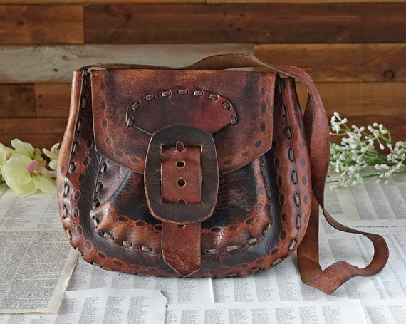 Brown shoulder bag Embossed leather bag Vintage shoulder bag  84dd4e8140630