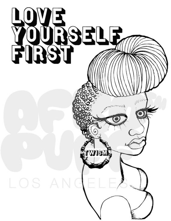 Love Yourself First Natural Hair Coloring Page Etsy