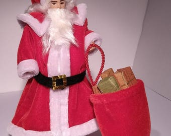 Doll with Santa Claus suit, removable, scale 1:12. Miniature for dollhouse.
