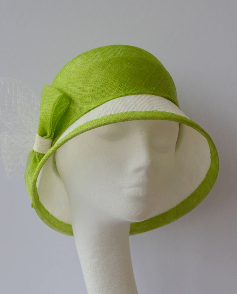 f98384a6dfd8e Lime green and ivory cloche. Green bow cloche. Green wedding
