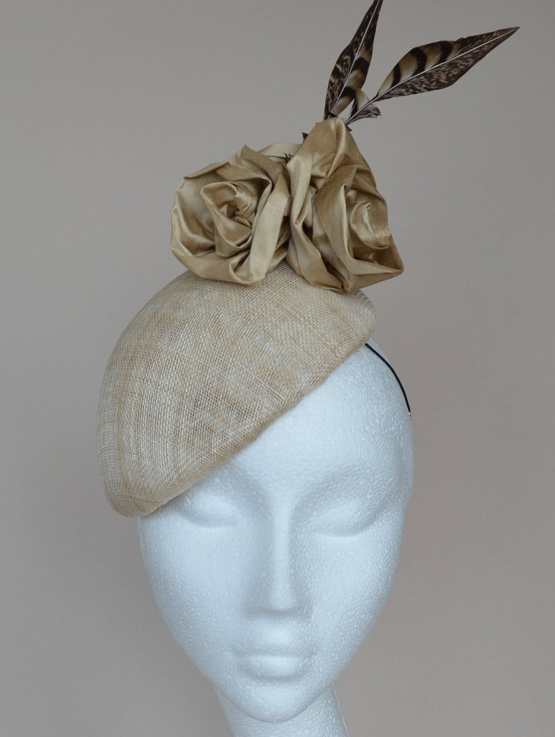 c37f2fb8a7a86 Beige wedding hat Natural wedding hat Beige beret with