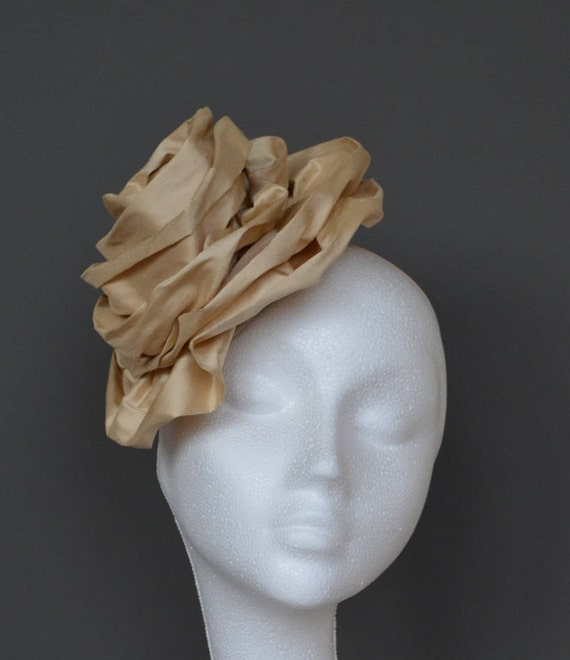 05c53968bb3ba Champagne beige flower silk hat. Gold flower silk hat. Neutral