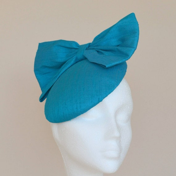 Teal blue hat. Blue bow hat. Blue wedding hat. Teal wedding  c40e864bea7