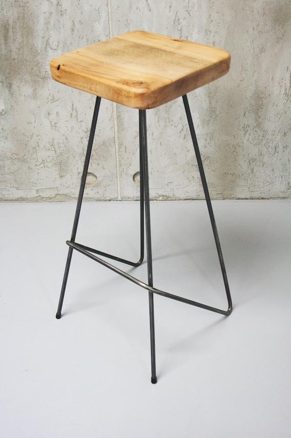 Barhocker, Arbeitshocker, Küche Stuhl, Barhocker, reine Eiche und Stahl,  minimalistisches Design, Handarbeit - Notre