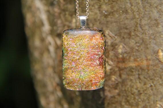 Necklaces D302 Dichroic Glass Pendant Orange Dichroic Glass Necklace