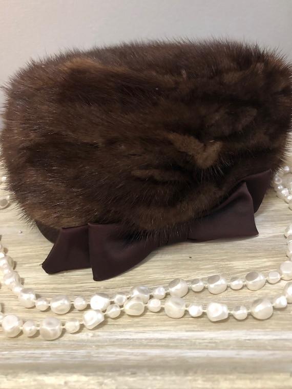 Gimbels Fur Hat with Satin Bow, Vintage Brown Fur