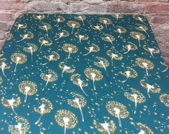 Green tablecloth with yellow gold dandelion fluff, Scandinavian design, great GIFT