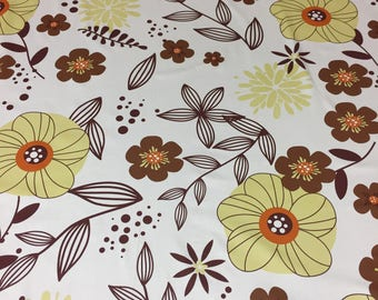 White cotton tablecloth with yellow brown flower and brown leafs, Scandinavian design, GIFT, Mothers day gift