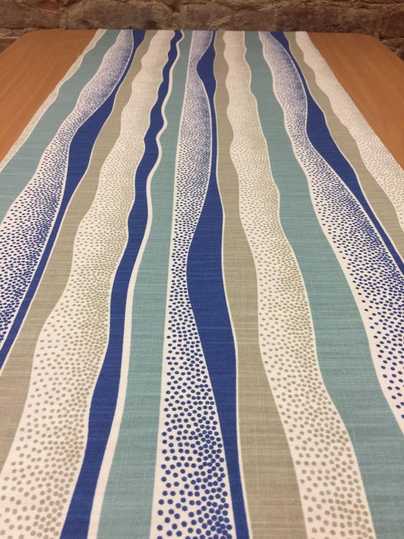 striped table runner Table runner blue beige bands dot modern style blue table runner