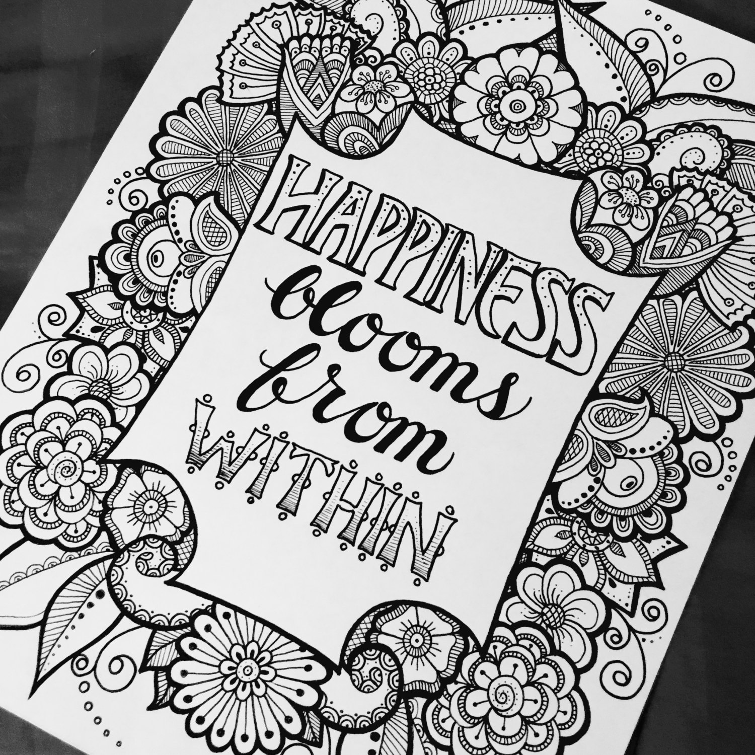 Digital Coloring Page Happiness Blooms From Quotes From The Etsy