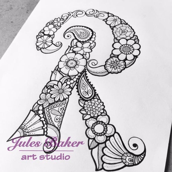 Digital Coloring Page - Letter R from \