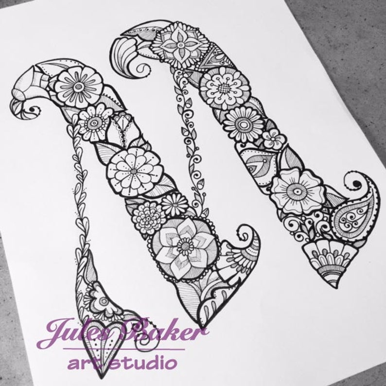 Digital Coloring Page Letter M from Letter | Etsy