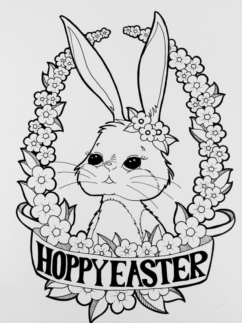 Digital Coloring Page Happy Easter Bunny Coloring Page | Etsy