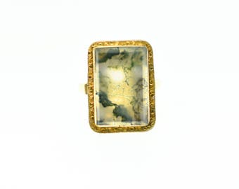 14k Gold Moss Agate Ring