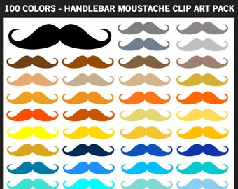 100 Colors Handlebar Moustache Clipart Pack - Commercial Use, Mustache, Boy Baby Shower, Father's Day, Printable, Iron on, Black, Brown