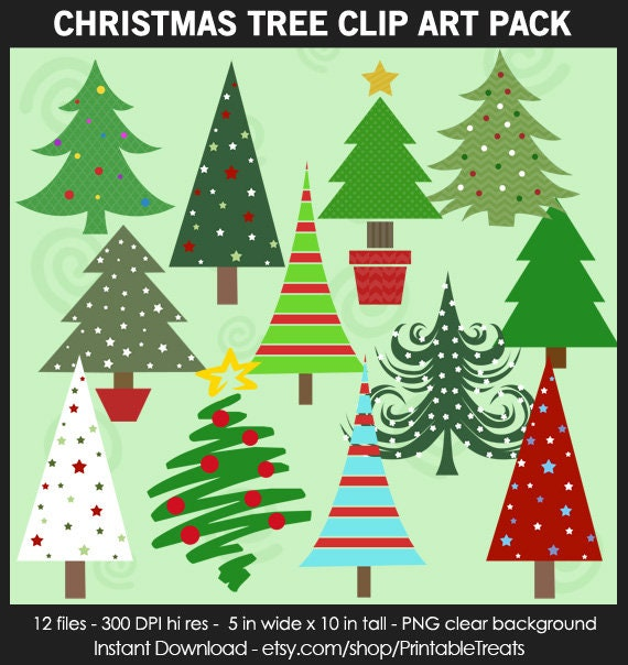 Tall Christmas Tree Clipart.Christmas Tree Clipart Pack Star Stripes Ornaments Printable Sticker Iron On Scrapbook Card Teacher White Red Green Cuok