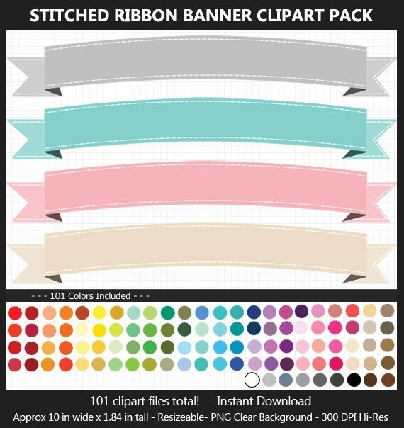 Stitched Ribbon Banner Clipart Pack 101 Fun Colors Etsy