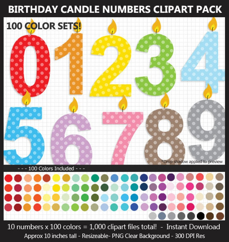 Birthday Candle Numbers Clipart Pack 100 Colors