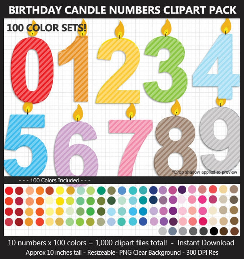 Birthday Candle Numbers Clipart Pack