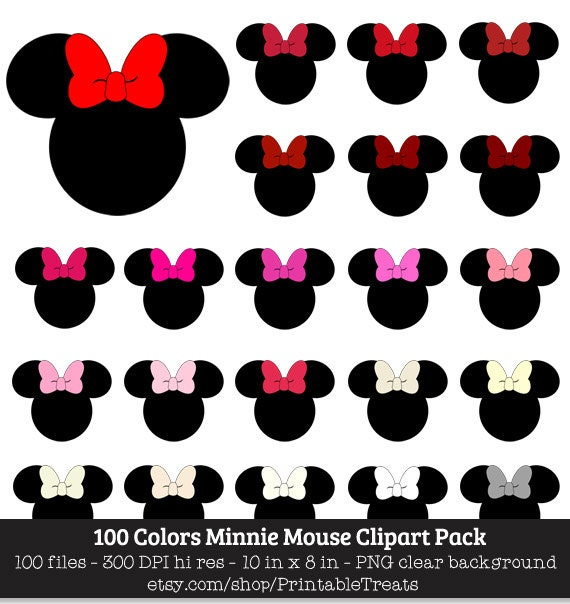 image regarding Minnie Mouse Silhouette Printable identified as Minnie Mouse Clipart Pack - 100 Entertaining Colours, Disney, Mouse Ears, Birthday, Club, Girly, Heavy, Silhouette, Iron Upon Move, Printable