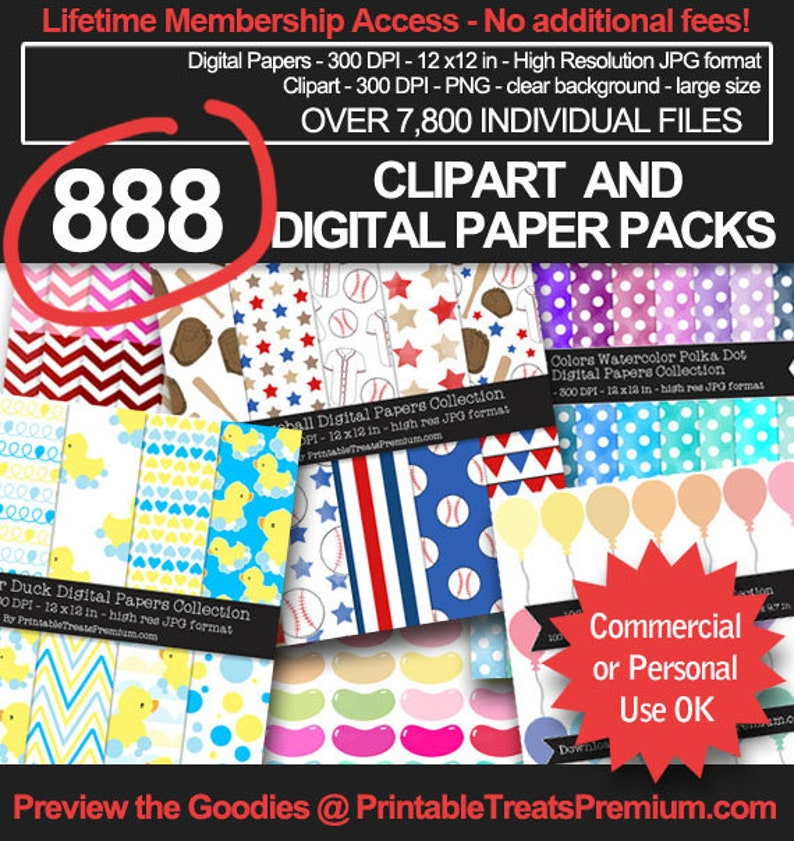 MEGA BUNDLE  888 Clipart and Digital Paper Packs Sale  image 0