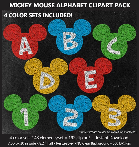 graphic relating to Free Printable Clip Art Letters titled Chalk Mickey Mouse Alphabet Clipart - Letters, Figures, Reward Cost-free Chalkboard Papers, Birthday Indicator, Blackboard, Banner,, Printable, CUOK