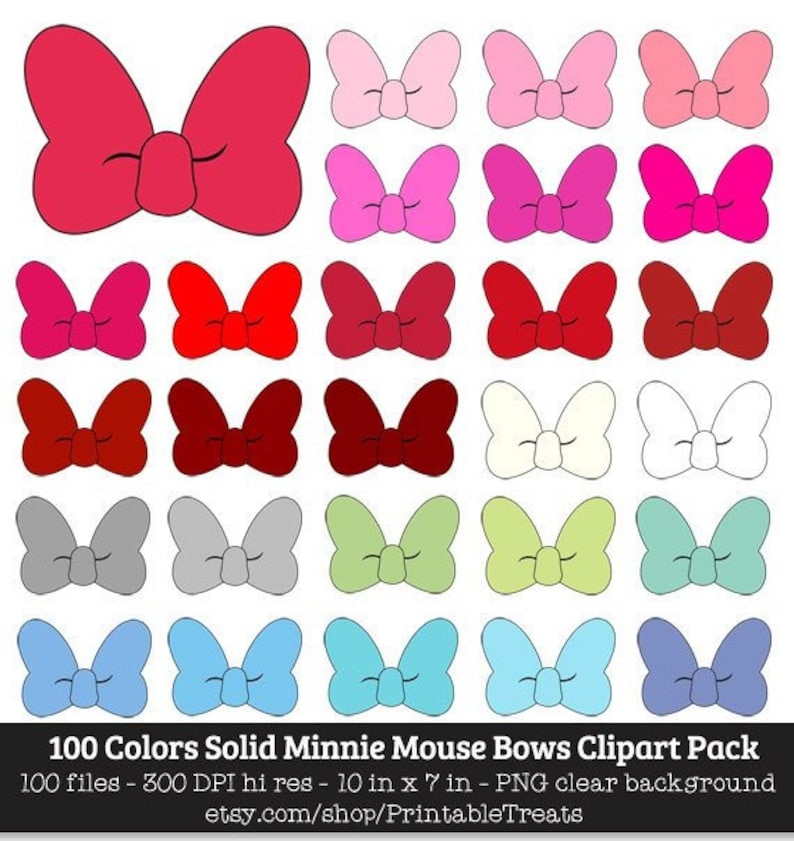 image about Printable Minnie Mouse Bows named Minnie Mouse Bows Clipart Pack - 100 Shades, Disney, Mouse Ears, Mickey, Birthday, Enormous, Silhouette, Printable, Iron upon Go, Planner