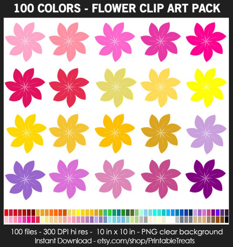photo about Printable Colored Flowers called Flower Clipart Pack - 100 Rainbow Colours, Spring, Blossom, Printable, Iron Upon Shift, Planner Sticker, Clroom Decor, Sbook, CUOK