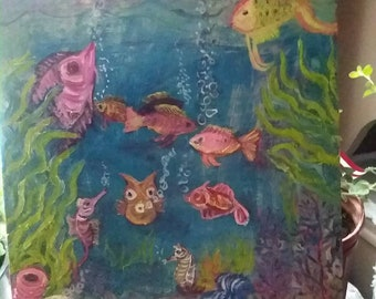 Arianna's coral reef 12 x 16