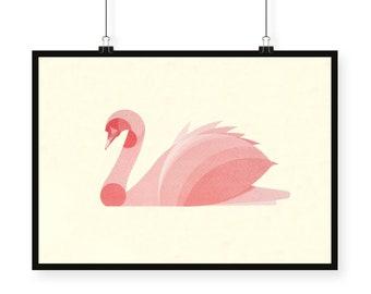 Screen printed artprint 'Swan'