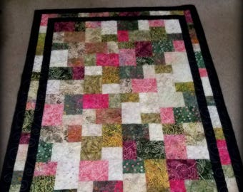 Lap quilt, throw quilt, gift for her, gift for him, patchwork quilt, batik quilt,wedding shower