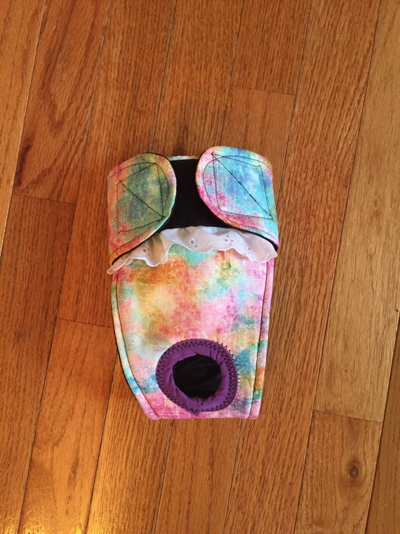 Female dog diaper-QUILTED-Washable TIE DYE PAWS by angelpuppi