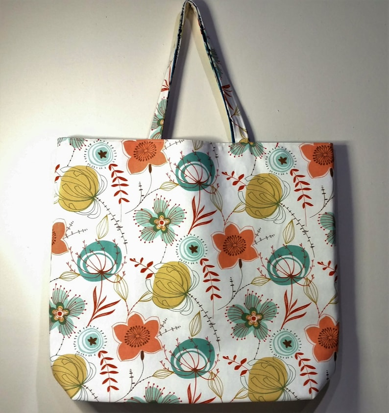 Handmade Tote Bag Reversible Tote Bag Lined Tote Bag Floral print Tote Bag Canvas Bag Fabric Tote Bag Large Tote Bag Beach Bag