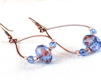 Copper Earrings Czech glass blue earrings summer jewelry bohemian copper jewelry dangle earrings drop earrings light blue statement earrings