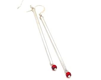 Minimalist Silver and Red Earrings, long simple silver tone dangles dangle jewelry drop geometric modern Christmas