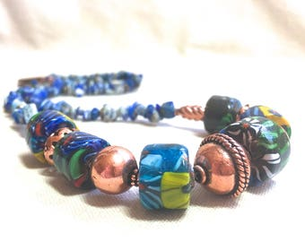Blue African Trade Bead Necklace, copper sodalite necklace natural stone necklace earthy jewelry boho bohemian jewelry long necklace earthy