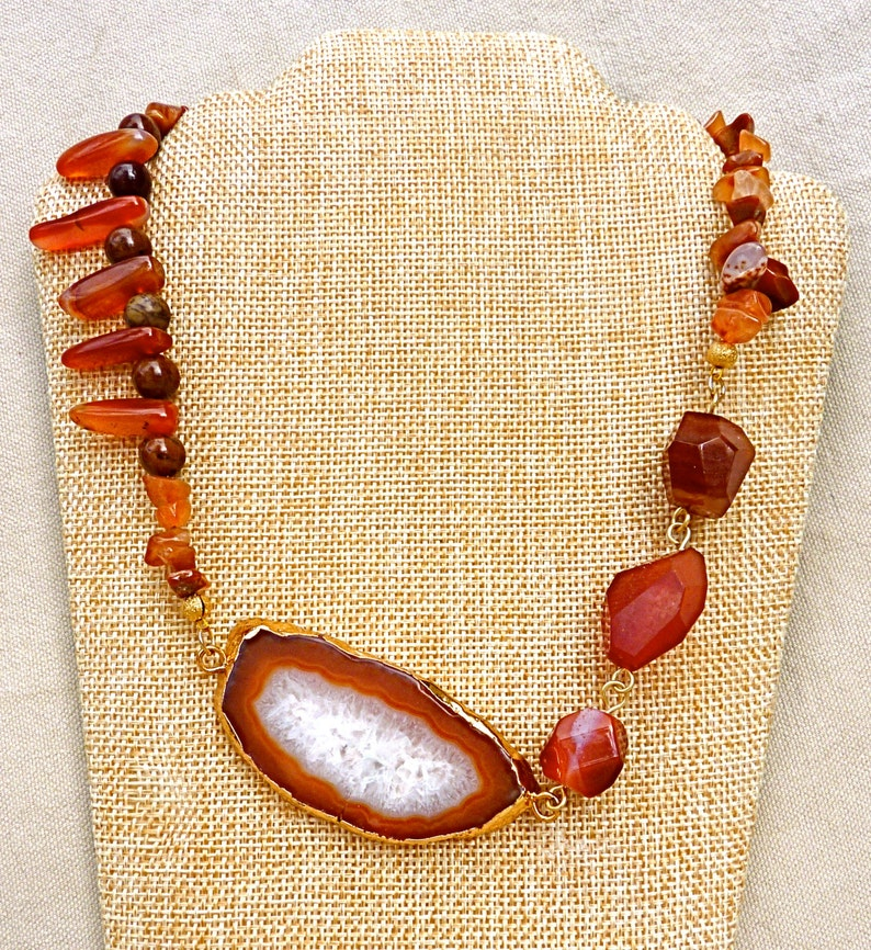 Natural Agate Necklace  Electroformed Jewelry  Carnelian Beaded Chain  Natural Stone