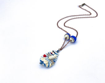 Striped Cat Necklace, artisan lampwork glass handmade red white blue beach ocean patriotic military fish heart cat lover gift anniversary