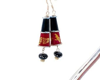 Red and Black Dangle Earrings, artisan lampwork glass dangles colorful bohemian beaded jewelry long sterling silver 22K gold boho elegant