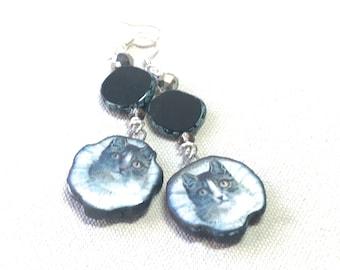 Black and White Cat Earrings, long porcelain dangles Czech glass artisan drop earrings bohemian jewelry boho chic style ceramic handmade