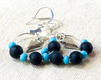 Turquoise Earrings arrow arrowhead earrings small hoop earrings simple tribal earrings dangle drop earrings silver earrings black stone bead