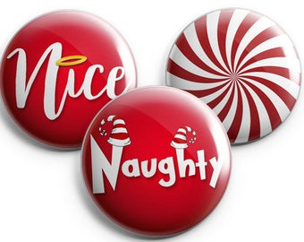 Christmas Gift, Christmas Pins, Naughty or Nice, Peppermint, Stocking Stuffer, Office Gifts, Christmas Party Game, Office Party