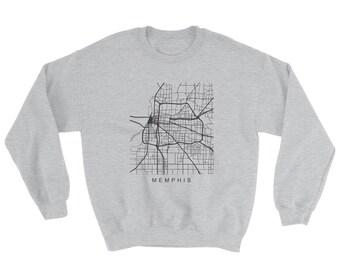 Memphis Tennessee City Map Print Sweatshirt Sport Gray