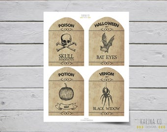 Halloween / Poison Wine Labels