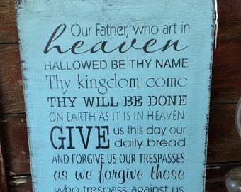 Lord's Prayer Wall Art Wood Sign Handmade Made To Order Our FatherFixer Upper Style Rustic Sign Modern Farmhouse