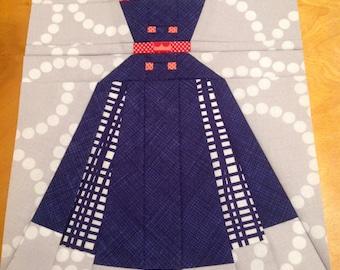 Annette - Vintage Dress - Paper Piecing or Foundation Piecing Quilt Block Pattern